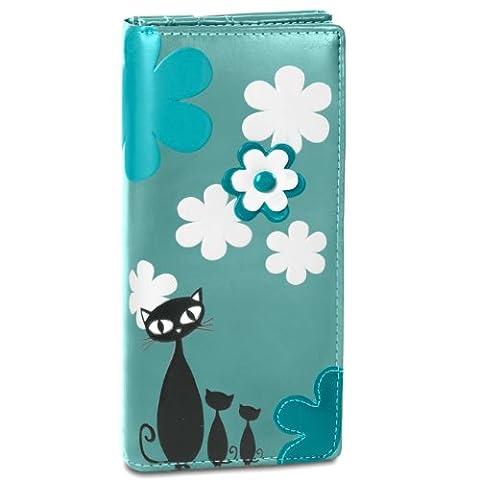 CASPAR Portefeuille pour femme / Porte-monnaie / long avec motif chat très tendance et de nombreux rangements très pratiques - plusieurs coloris - GB290, Farbe:petrol