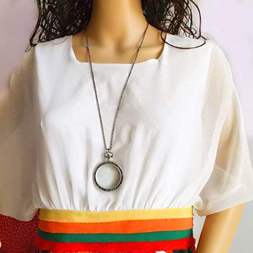 Baixx Halskette Lupe Retro Silber Durable Old Student Reading Erweiterung Zubehör Lupe 10X (Antiquitäten Halskette)