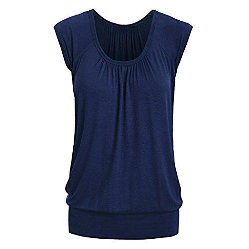 VEMOW Elegante Frauen Damen Sommer Casual Rundhals Solide Lose Beiläufige Tägliche Kurzarm T-Shirt Top Bluse Pulli Tees(Blau, EU-40/CN-M) -