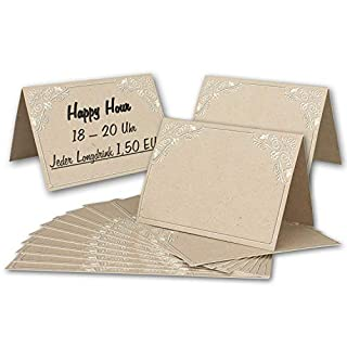 Vintage Table Cards Pack of 25 Kraft Paper Ornament DIN A7 – Folding Cards 7.4 x 10.5 cm Back – Name Tags – Table Decoration – from Your Glüxx Agent