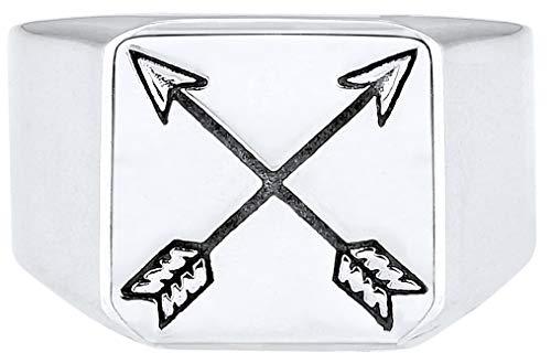 kuzzoi Siegelring Herrenring, massiv 14 mm breit in 925 Sterling Silber, schwarz oxidierte Pfeile mit Gravur, Ring für Männer in der Ringgröße 60 - 66, 0601990719_66