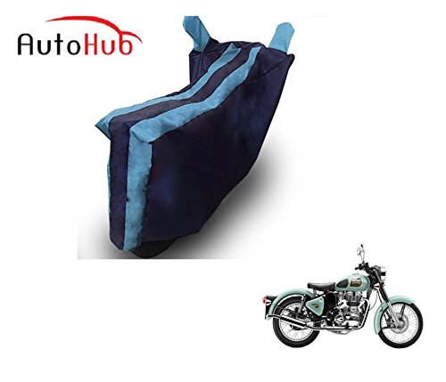 Auto Hub Bike Body Cover For Royal Enfield Classic 350 - Black Blue  available at amazon for Rs.275