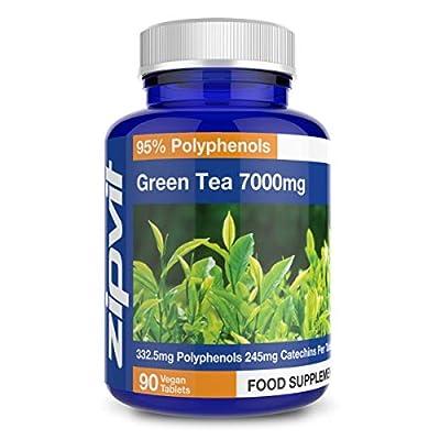 Thé Vert 7000mg | 90 comprimés | Extrait de thé vert 20:1 fournissant l'équivalent de 7000 mg de feuilles séchées | Convient aux régimes végétariens et végétaliens.