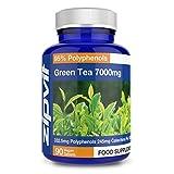 Estratto di tè verde 7000mg, 90 Vegan Compresse. Potente Antiossidante. Fornitura di 3 Mesi.