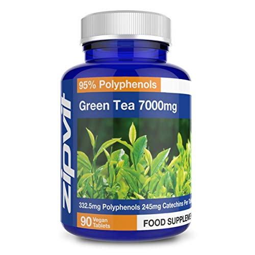 Green Tea Extract 7000mg Antioxidant, 90 Vegan Tablets. 3 Months Supply. UK Manufactured. Vegetarian Society Approved.