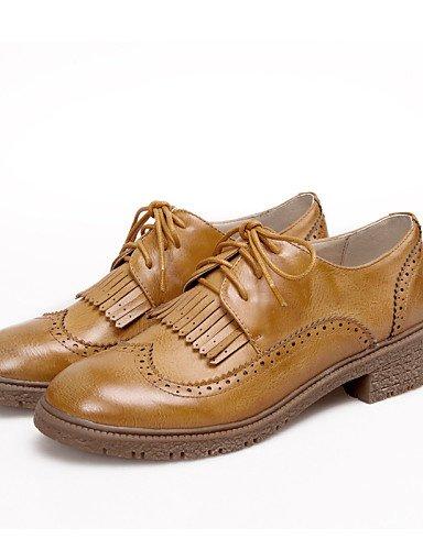 ZQ Scarpe Donna - Stringate - Ufficio e lavoro / Formale / Casual - Chiusa / Cinturino alla caviglia - Quadrato - Finta pelle -Nero / , brown-us8.5 / eu39 / uk6.5 / cn40 , brown-us8.5 / eu39 / uk6.5 / yellow-us8 / eu39 / uk6 / cn39