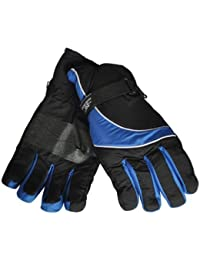 Mens Thermal Insulated Ski Winter Gloves (Black/Royal Blue, X LARGE)