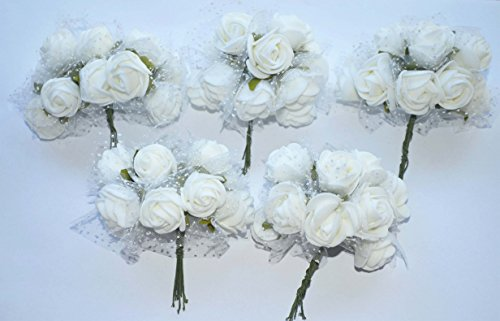 # 100x Fiorellini Rose ROSA Foam PE Con Organza Neve Bomboniera Fai Da te decorazione (BIANCO) comprare on line