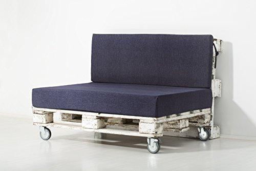 Palemare Palettenkissen Palettenpolster RG50 Polsterstoff 120x80x15cm (Set: Sitzkissen + Rückenlehne) Indoor Outdoor Bezug Blau waschbar