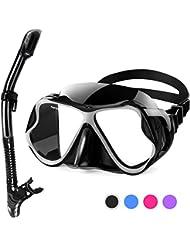 Fenvella 2019 Set Snorkeling, Anti-Fog Maschera Snorkeling con Panoramica a 180 Gradi e Boccaglio Snorkel, Kit Snorkeling Professionale per Adulti (Nero)