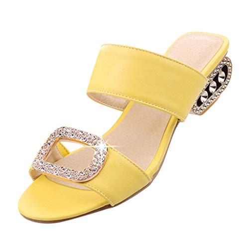 CixNy Sandalen Damen Sommer Plateau Keilabsatz Schuhe Wildleder Schuhe Peep Toe High Heel Bequeme Mode Freizeit Wasser Kristall Fisch Mund Sandalen ()