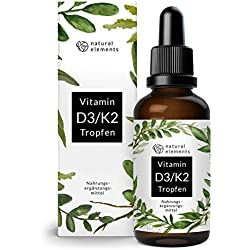 Vitamin D3 + K2 Tropfen 50ml - Premium: 99,7+% All-Trans (K2VITAL® von Kappa) + hoch bioverfügbares D3 - Laborgeprüft, hochdosiert, flüssig und hergestellt in Deutschland