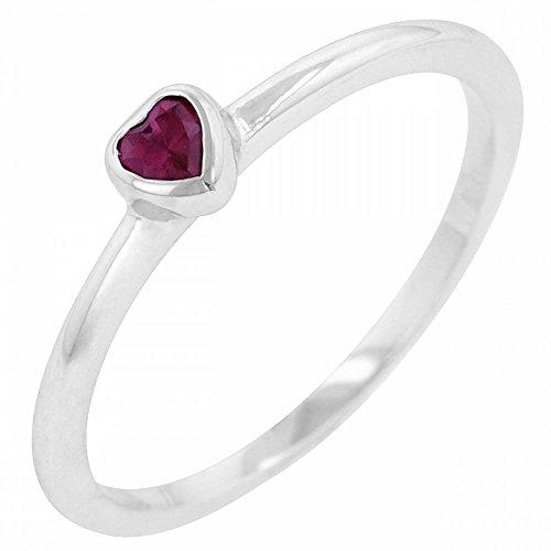 ISADY - Evelyne Rubin - Damen Ring Solitär - 14 Karat (585) Weißgold platiert rhodiniert - Zirkonium Rot Herz