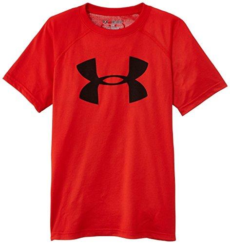 Under Armour - Maglietta da ragazzo Tech Big Logo Risk Red/black