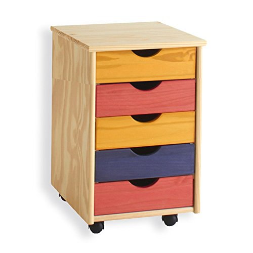 Rollcontainer Bürocontainer Container Schubladencontainer LAGOS, Kiefer massiv in bunt, 5 Schubladen, 4 Doppelrollen