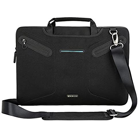EveCase Maletín para Portátiles de 15-15.6 pulgadas, Funda para Acer Aspire E5-573G, con manijas y correa de hombro, Bolsillo con cremallera, Negro