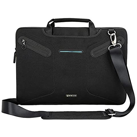 15.6 inch Laptop Messenger Bag, Evecase Notebook Multi-functional Neoprene Messenger Case Tote Bag with Handle and Carrying Strap - Black