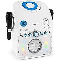 auna StarMaker • Karaokemaschine • Kinder Karaoke Player • Karaoke Anlage • Bluetooth • Multicolor LED-Lichteffekt • CD-Player • Spielt Karaoke-CDs • 2 x Mikrofon • USB-Port • Video-Ausgang • weiß