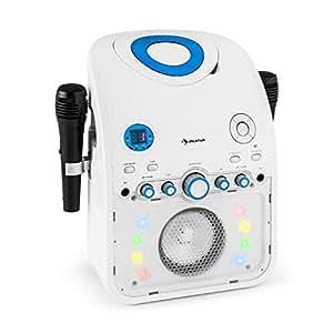 auna Starmaker Impianto Karaoke bluetooth con effetti luce multicolore e lettore CD (2 microfoni, effetti luce multicolore, cavo A/V) - bianco