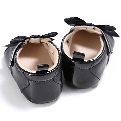 OverDose Kleinkind-Mädchen-Krippe-Schuhe Neugeborene Bowknot-weiche alleinige Anti-Rutsch-Baby-Turnschuhe Schwarz