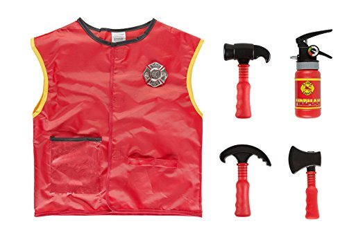 Idena 0951-3 Kinderkostüm Set Feuerwehr, Unisex-Child, One ()