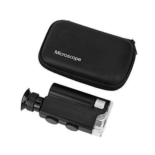 Homebunnyy 200X-240X Taschen Mikroskop , LED UV-Licht-Mikroskop, Mini Mikroskop für Experiment Authentizität Bewertung, Kinder-Mikroskop für Spaß und Natur erkunden