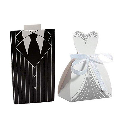 owikar 100PCS Hochzeit Favor Candy Box Creative Party Hochzeit Kleid & Tuxedo Braut Kleid CANDY BOX für Geschenk der Hochzeit Party Geburtstag Bridal Dusche Dekoration (Kordelzug Pfirsiche)