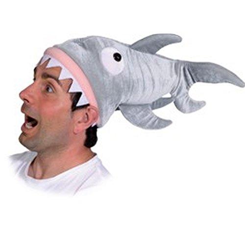 Preisvergleich Produktbild Amakando originelle Tiermütze Fischmütze Hut Hai-Angriff Kopfbedeckung Hai Plüschmütze Shark Haimütze