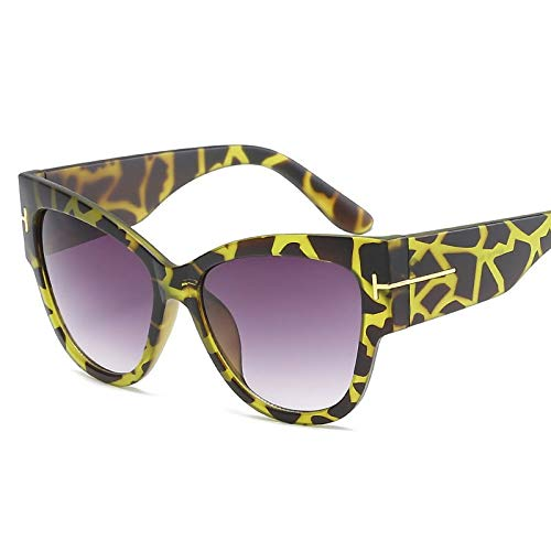 YUHANGH Leopard Sonnenbrille Frauen Große Rahmen Vintage Sonnenbrille Retro Brillen Persönlichkeit