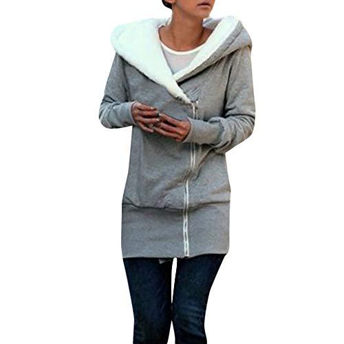 Sunenjoy Manteau Femme Hiver Grande Taille - Chic Veste Blouson à Capuche Épais Chaud Fourrure Parka Manches Longues Cardigan Outwear Automne Hiver Sport (L, Gris)