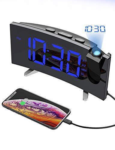 """Despertador Proyector, Holife Reloj Digital Proyector, Fácil de Operacion, 5\""""Pantalla LED Curva &6 Brillo, Radio FM, [Dual Alarma con 3 Sonido Suave + Radio], Función Snooze, Puerto USB, Luz Atenuante"""