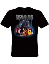 DarkArt-Designs Gear Up Guitar - Camiseta guitarra para hombres y mujeres - instrumento musical