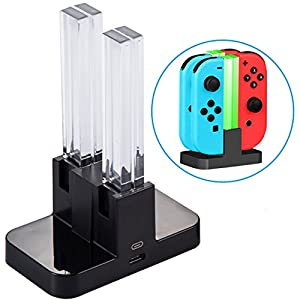 Ladestation für Nintendo Switch [4 in 1 Joy-Con] Diyife Joy-Con Controller Joy-Con Ladegerät Typ-C Kabel, mit LED-Anzeige Intelligenter Schaltung