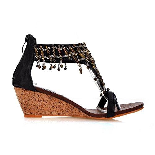 Bdawin Vintage Femme Sandales Talons Compensé Bohème Multilayer Perlée Clip Toe Chaussures de Plage Noir