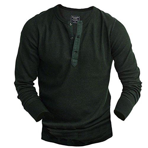 abercrombie-homme-long-sleeve-waffle-henley-shirt-top-longue-taille-medium-vert-625176102