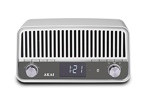 Akai APR500WE - Radio vintage con Bluetooth, color blanco