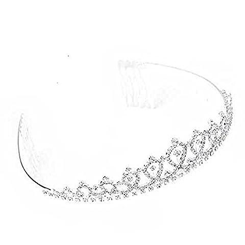 Ecloud Shop Versilbert Strass luxuriöse Diadem Kamm Braut Haarband Kopfschmuck