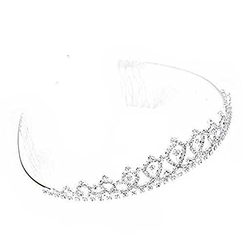 Ecloud Shop Versilbert Strass luxuriöse Diadem Kamm Braut Haarband Kopfschmuck Haarreif