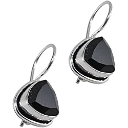 Silvestoo India Black Onyx Gemstone 925 Silver Plated Earring For Women & Girls PG-25404