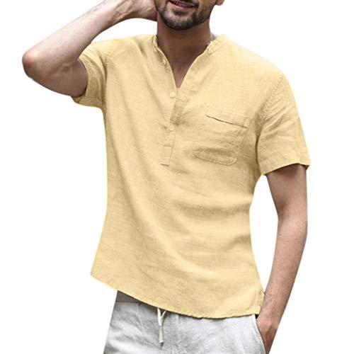 Nk-pure Sticks (serliy Herrenhemd, Baggy Baumwolle Leinen einfarbig Kurzarm Retro T-Shirts Tops Bluse V-Ausschnitt Button-Down-Tops mit Taschen)