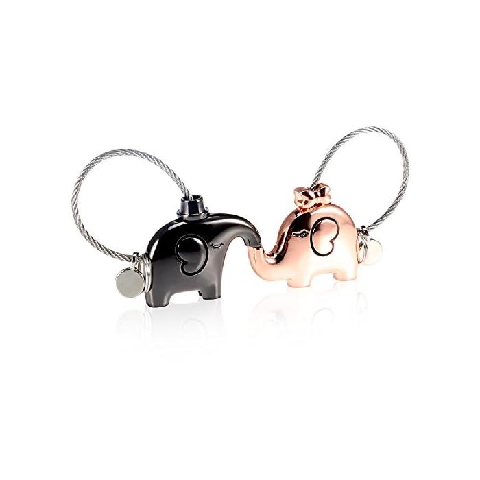 Foonii 1 Paar Schlüsselanhänger, Abnehmbar küssender Elefant Schlüsselring, niedliche Schlüssel Anhänger, Valentinsgruß…
