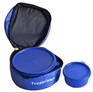 Tupperware Classic Plastic Lunch Box with Bag, 2-Pieces, Blue