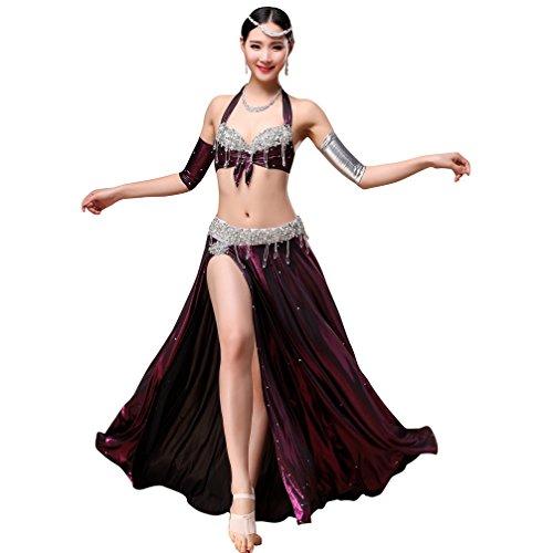 Rongg Professionel Bauchtanz-Kostüm für Frauen Perlen Kristall BH Set Gürtel Bauchtanz-Kleid Kleidung üben Aufgeteilter Rock Performance Tanzoutfit, Purple, M