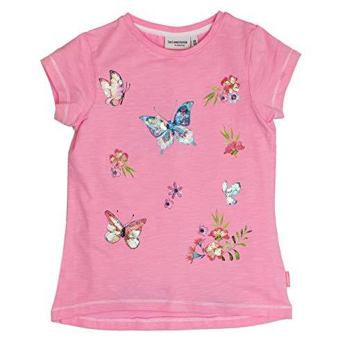 SALT AND PEPPER SALT AND PEPPER Mädchen T-Shirt Sweetie Uni Schmetterl, Pink (Candy Rose 857) 104 (Herstellergröße: 104/110)