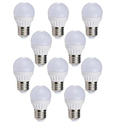 LED FACTORY 5W E27 G45 LED Lampe, Ersatz für 50W Glühlampen, 400lm, Warmweiß, 2800K, 270° Abstrahlwinkel, LED Birne, LED Leuchtmittel, 10er Pack