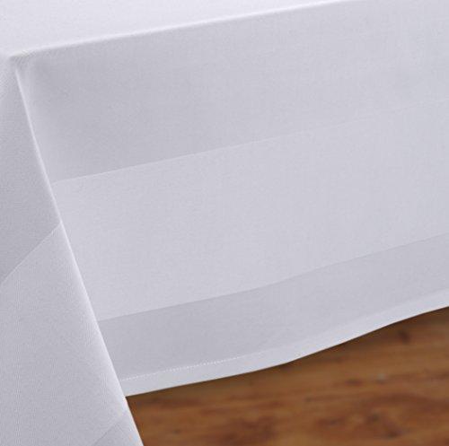 Gastronomie Hotel Tischdecke, Tischwäsche Vollzwirn Baumwolle Weiß, ECKIG RUND Größe wählbar (eckig 340 x 130 cm) (Große, Runde Tischdecken)