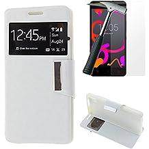 OVIphone Funda Con Tapa Libro Soporte Para BQ AQUARIS M5 + Cristal Templado (Color Blanco)