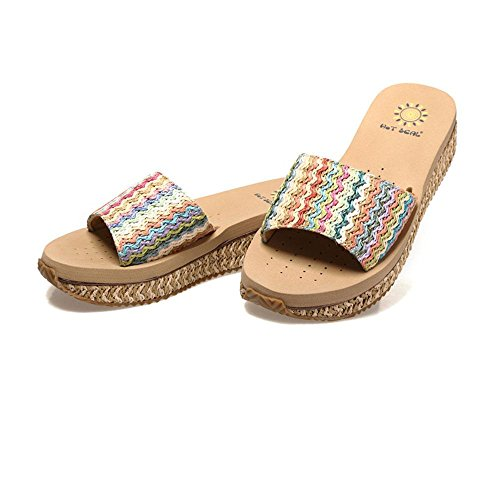 WANGXN Womens Flip-Flops Thick Bottom High Heel Beach Chaussures Woven Color Slope And Non Slip Air 9707 beige