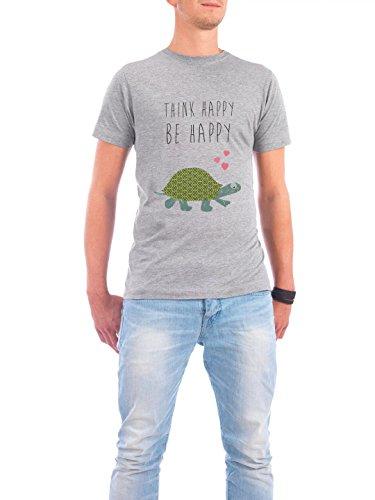 """Design T-Shirt Männer Continental Cotton """"Think happy - be happy"""" - stylisches Shirt Typografie Tiere von Claudia Schön Grau"""