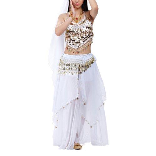 Weiß Kostüm Bauchtänzerin - BellyLady Bauchtanz Kostüm Halfter BH Top Hüfttuch und Rock Halloween Weiß